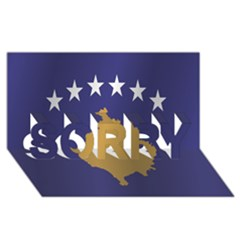 Flag Of Kosovo SORRY 3D Greeting Card (8x4)