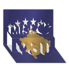 Flag Of Kosovo Miss You 3D Greeting Card (7x5)
