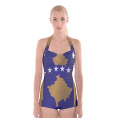 Flag Of Kosovo Boyleg Halter Swimsuit