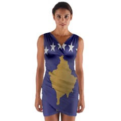 Flag Of Kosovo Wrap Front Bodycon Dress