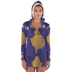 Flag Of Kosovo Women s Long Sleeve Hooded T-shirt
