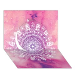 Pink Watercolour Mandala Circle 3d Greeting Card (7x5)