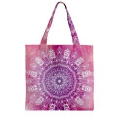 Pink Watercolour Mandala Zipper Grocery Tote Bag