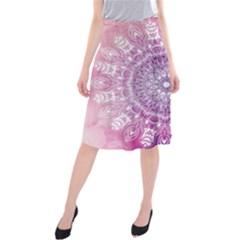 Pink Watercolour Mandala Midi Beach Skirt