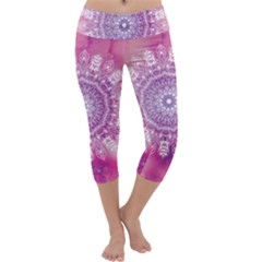 Pink Watercolour Mandala Capri Yoga Leggings