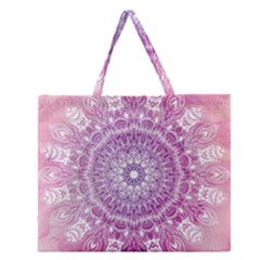 Pink Watercolour Mandala Zipper Large Tote Bag