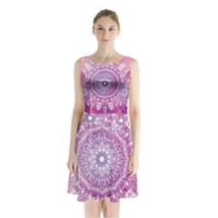 Pink Watercolour Mandala Sleeveless Waist Tie Dress