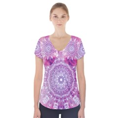 Pink Watercolour Mandala Short Sleeve Front Detail Top