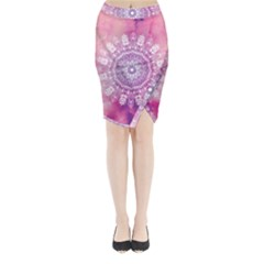 Pink Watercolour Mandala Midi Wrap Pencil Skirt
