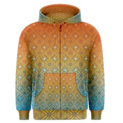 Ombre Fire and Water Pattern Men s Zipper Hoodie