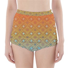 Ombre Fire and Water Pattern High-Waisted Bikini Bottoms
