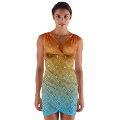 Ombre Fire and Water Pattern Wrap Front Bodycon Dress