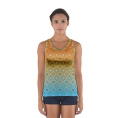 Ombre Fire and Water Pattern Women s Sport Tank Top