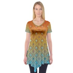 Ombre Fire and Water Pattern Short Sleeve Tunic