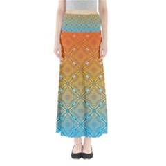 Ombre Fire and Water Pattern Maxi Skirts