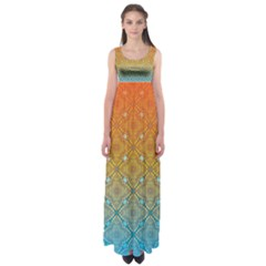 Ombre Fire and Water Pattern Empire Waist Maxi Dress