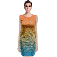 Ombre Fire and Water Pattern Classic Sleeveless Midi Dress