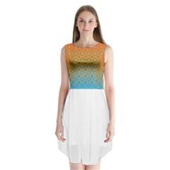 Ombre Fire and Water Pattern Sleeveless Chiffon Dress