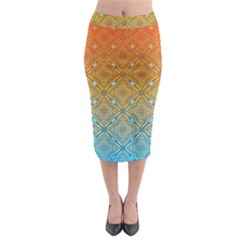 Ombre Fire And Water Pattern Midi Pencil Skirt