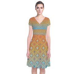 Ombre Fire and Water Pattern Short Sleeve Front Wrap Dress