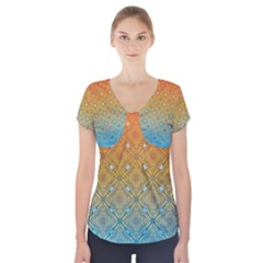 Ombre Fire and Water Pattern Short Sleeve Front Detail Top