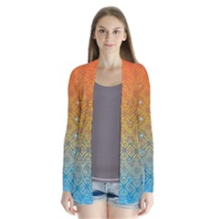 Ombre Fire and Water Pattern Drape Collar Cardigan