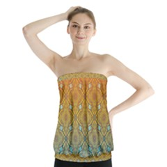 Ombre Fire and Water Pattern Strapless Top