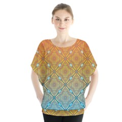 Ombre Fire and Water Pattern Blouse