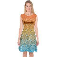 Ombre Fire and Water Pattern Capsleeve Midi Dress