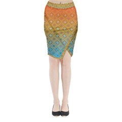 Ombre Fire And Water Pattern Midi Wrap Pencil Skirt