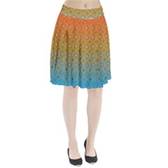 Ombre Fire And Water Pattern Pleated Skirt