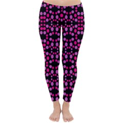 Dots Pattern Pink Winter Leggings