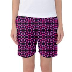 Dots Pattern Pink Women s Basketball Shorts