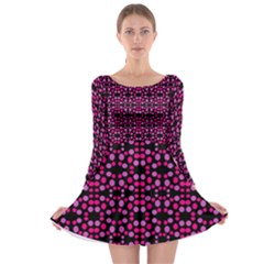 Dots Pattern Pink Long Sleeve Skater Dress