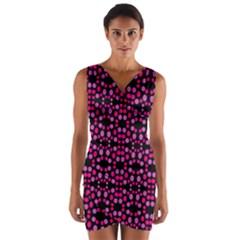 Dots Pattern Pink Wrap Front Bodycon Dress