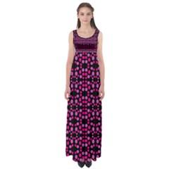 Dots Pattern Pink Empire Waist Maxi Dress