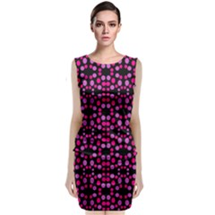 Dots Pattern Pink Classic Sleeveless Midi Dress