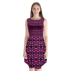 Dots Pattern Pink Sleeveless Chiffon Dress