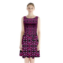 Dots Pattern Pink Sleeveless Waist Tie Dress