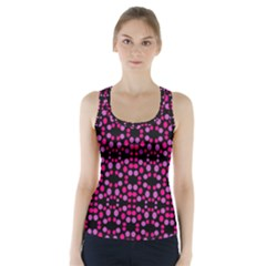Dots Pattern Pink Racer Back Sports Top