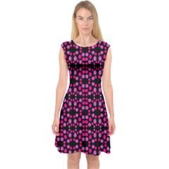 Dots Pattern Pink Capsleeve Midi Dress