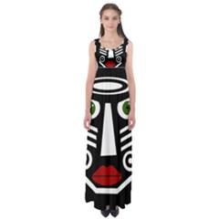 African Mask Empire Waist Maxi Dress