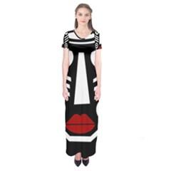 African Mask Short Sleeve Maxi Dress