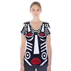 African mask Short Sleeve Front Detail Top