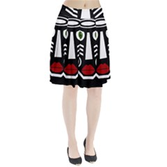 African mask Pleated Skirt