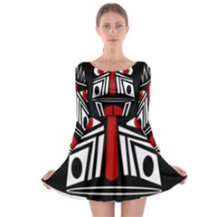 African red mask Long Sleeve Skater Dress