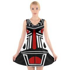 African red mask V-Neck Sleeveless Skater Dress