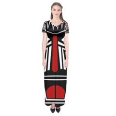 African Red Mask Short Sleeve Maxi Dress