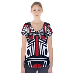 African Red Mask Short Sleeve Front Detail Top