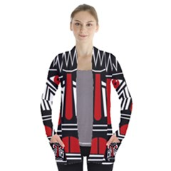 African red mask Women s Open Front Pockets Cardigan(P194)